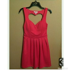 Hot pink heart cutout dress